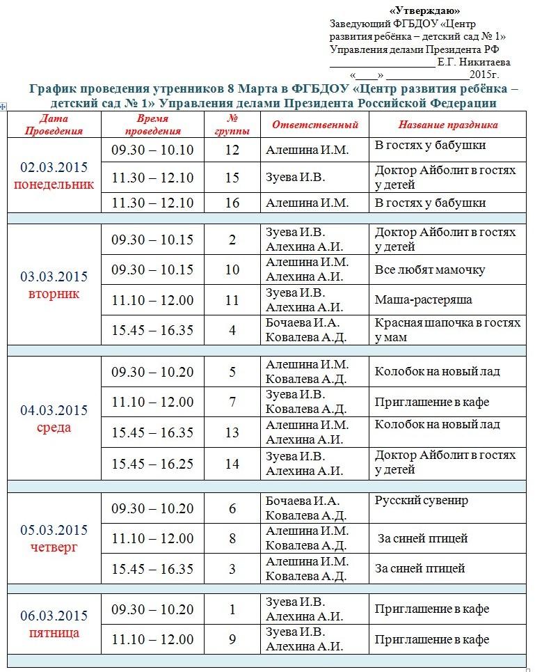 ГРАФИК УТРЕННИКОВ