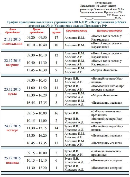 ГРАФИК НОВОГОДНИХ УТРЕННИКОВ